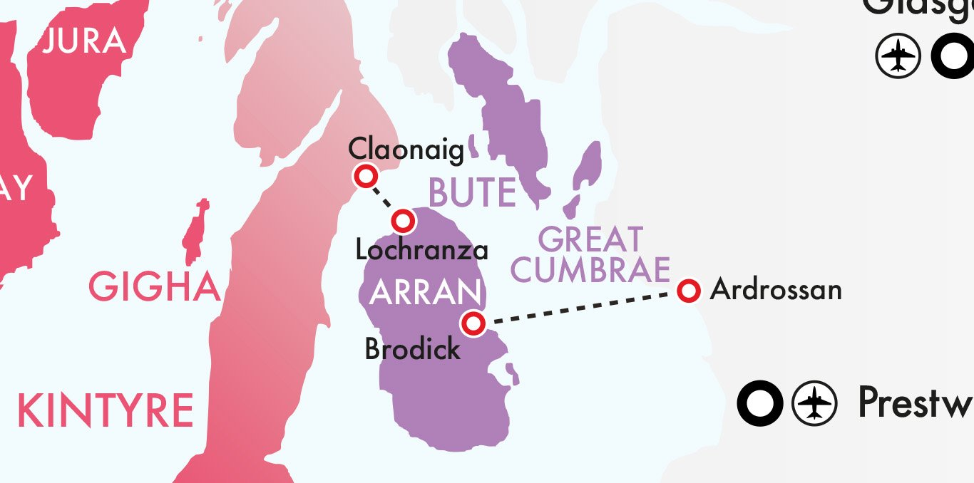 Map showing the ferry routes for Hopscotch 5 - Ardrossan to Brodick and Lochranza to Claonaig