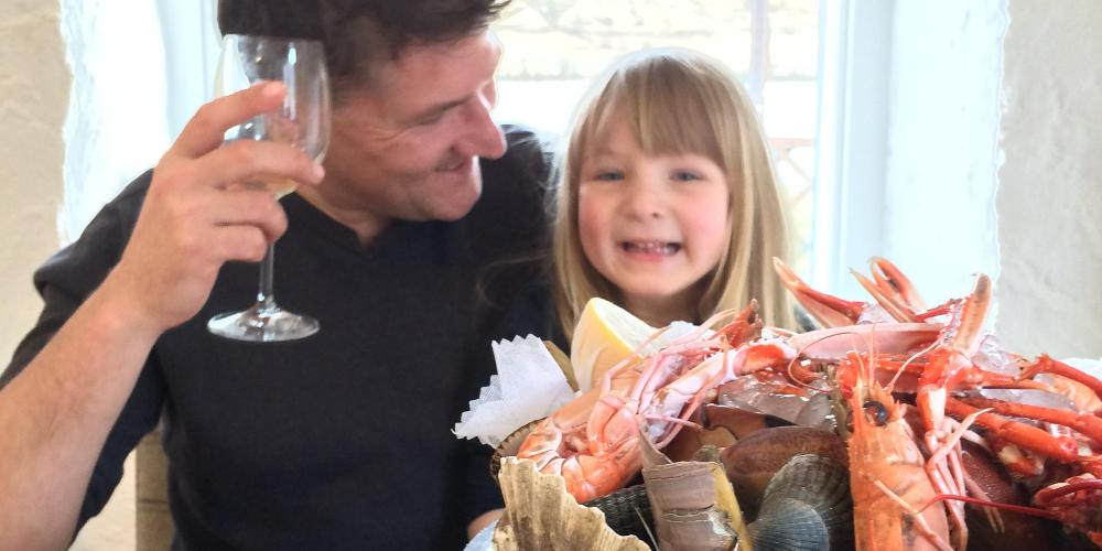Robin and daughter Emma with lobster at Loch Fyne