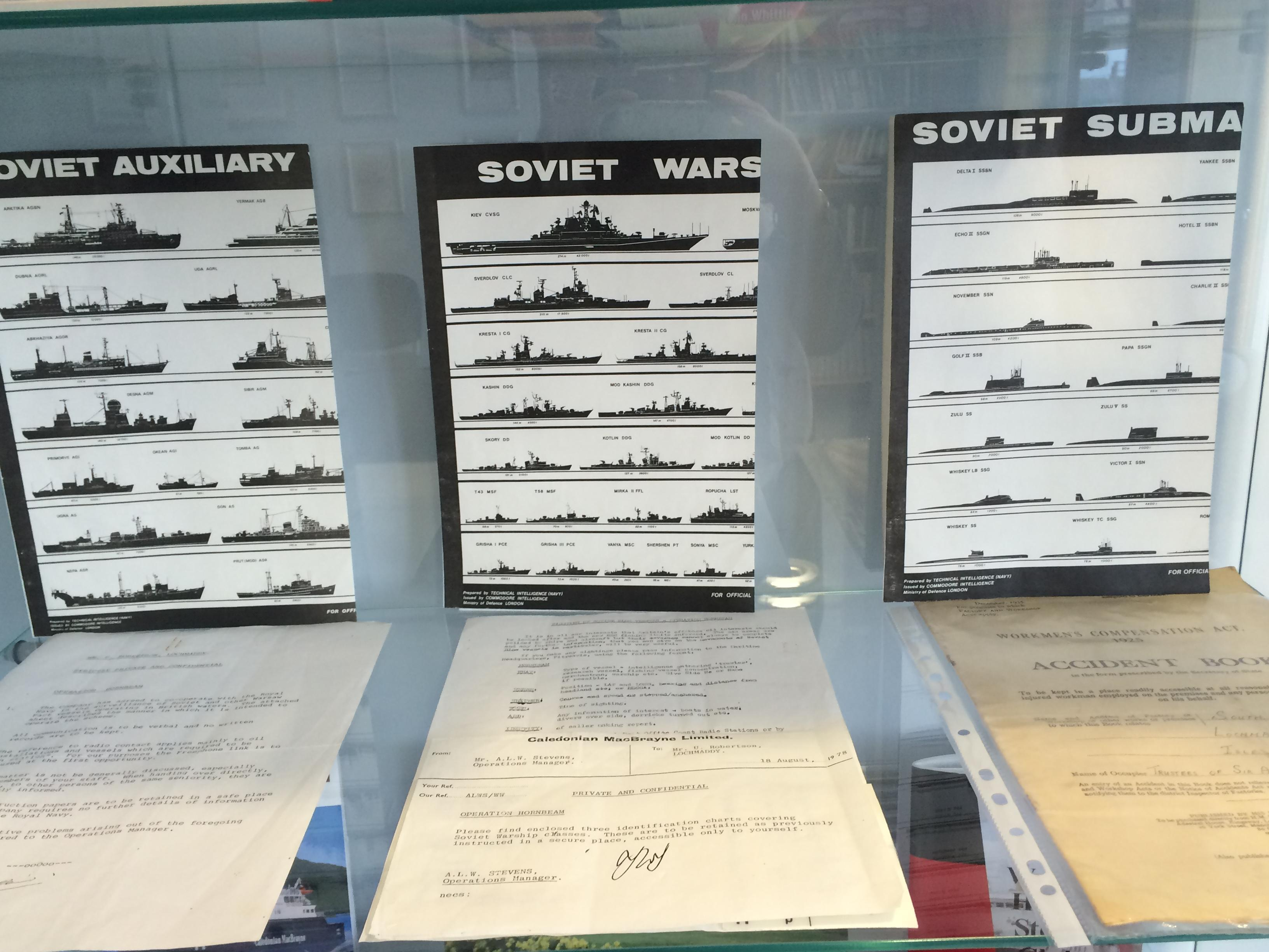 Display of identification charts for Russian ships and submarines from the Cold War