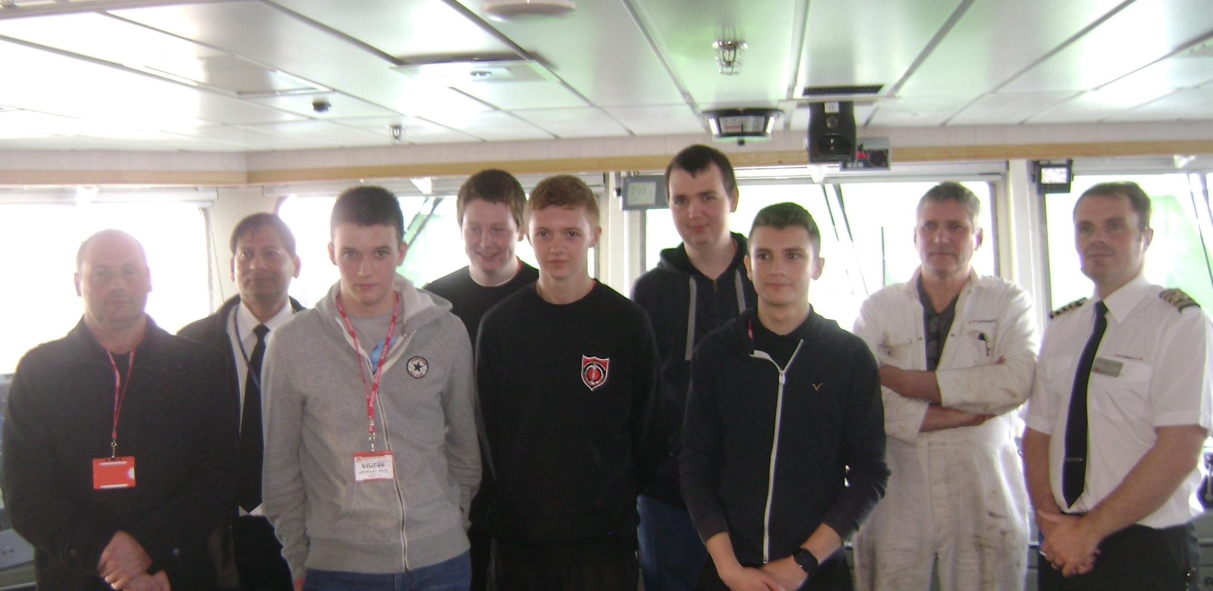 CalMac Officers with pupils at Lionacleit School
