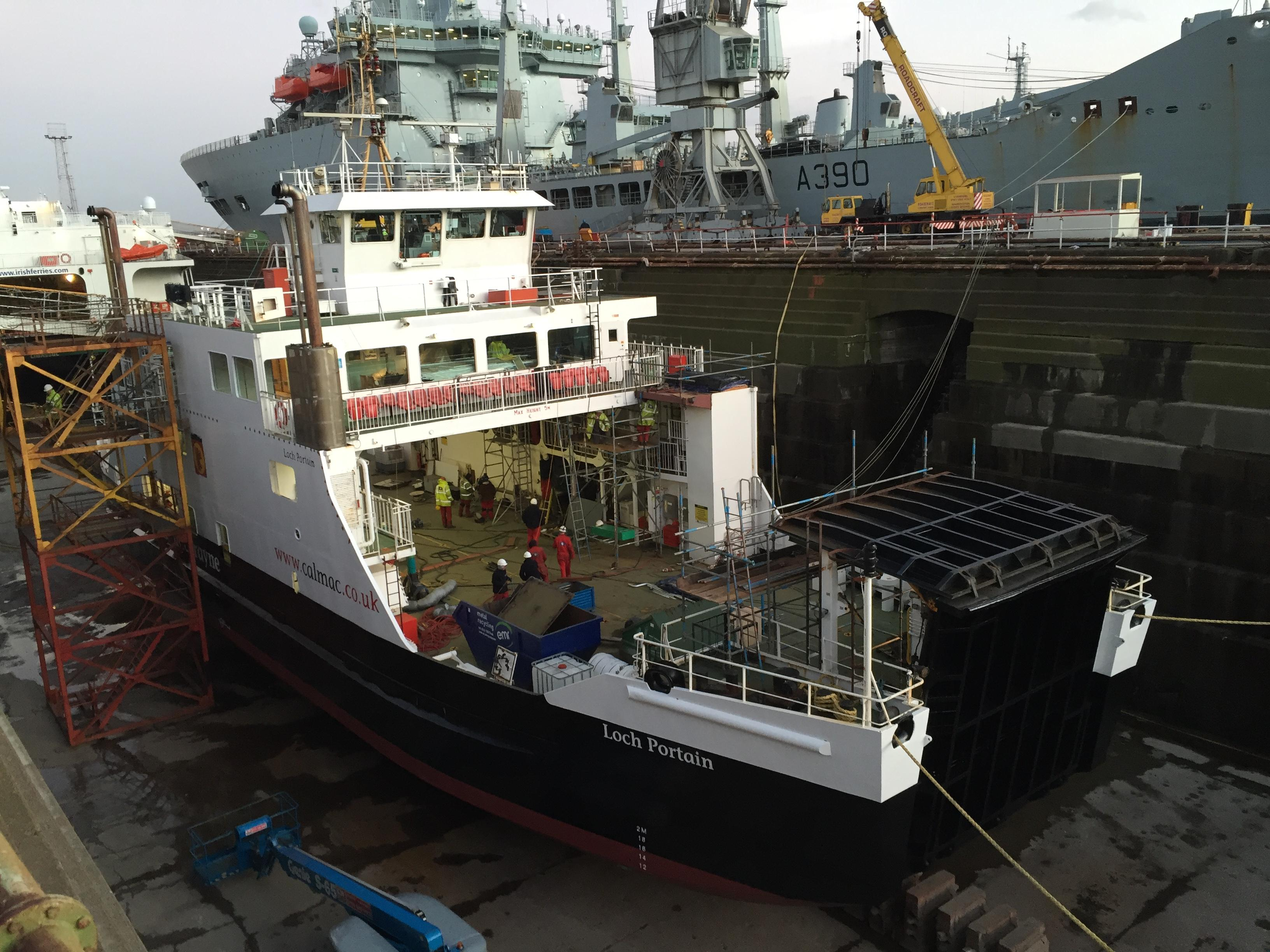 MV Loch Portain in dry dock