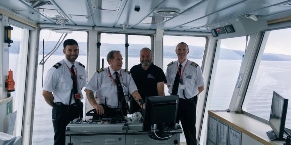 Andy training bridge crew of the M.V Bute