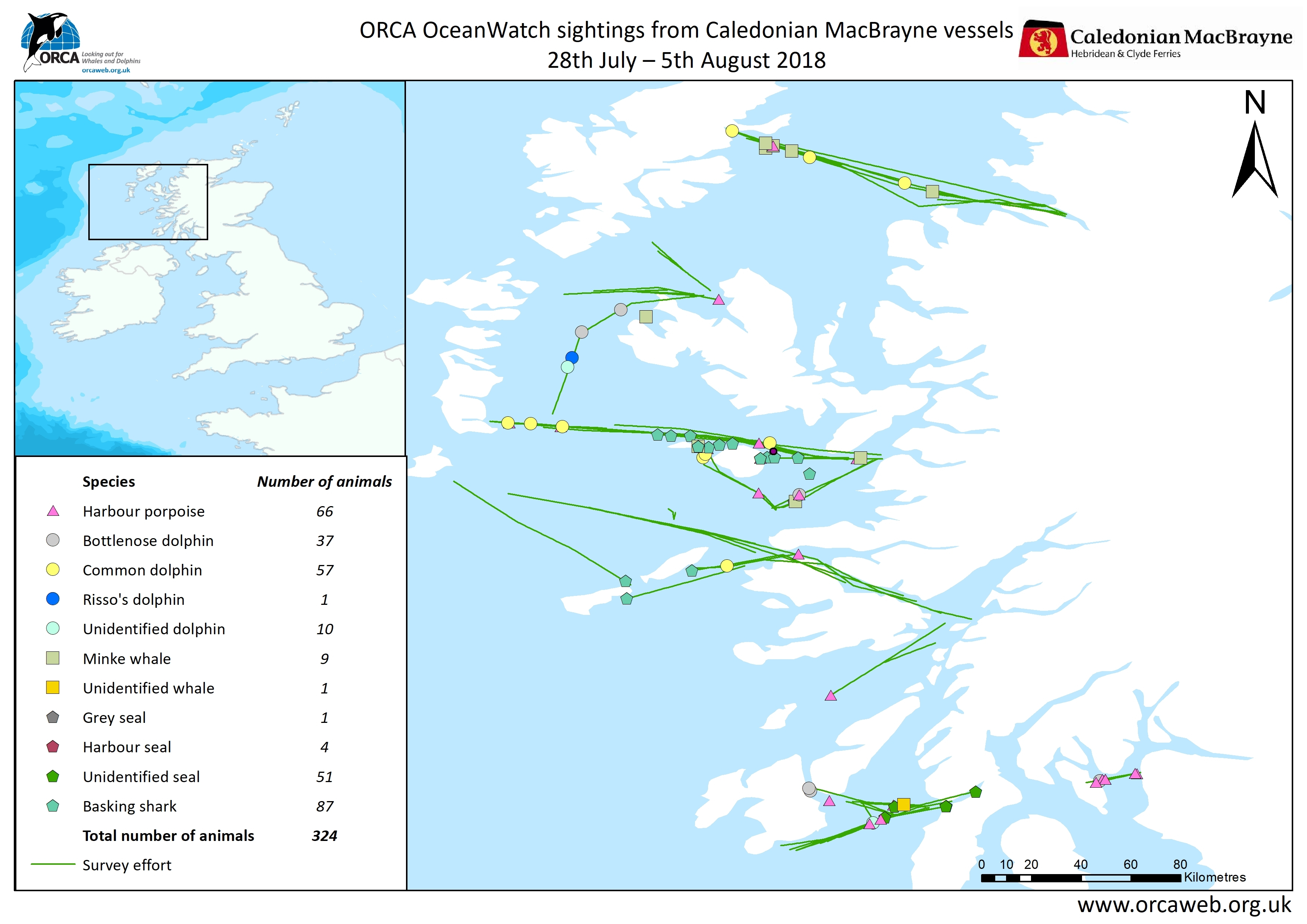 ORCA Oceanwatch 2018 Calmac Map