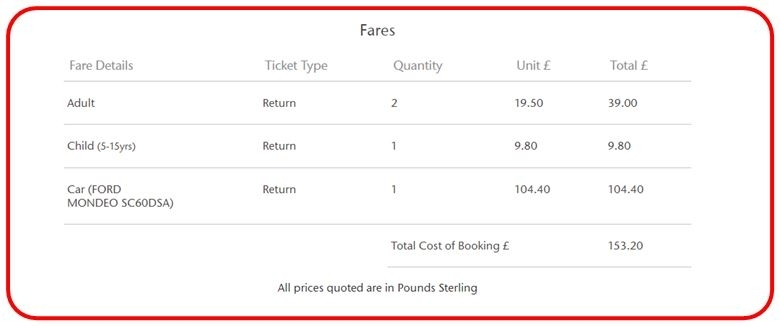 Picture of Fares section of Confirmation screen