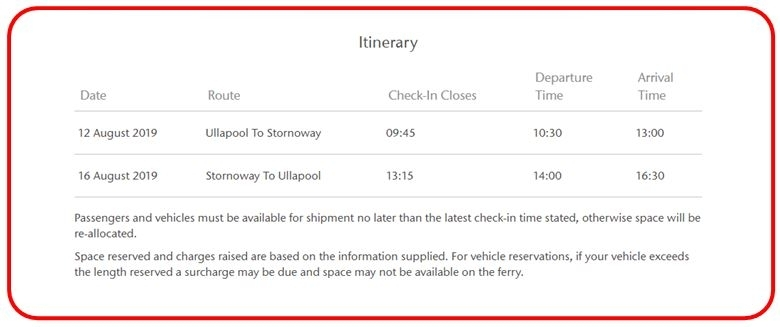Picture of Itinerary section of Confirmation screen
