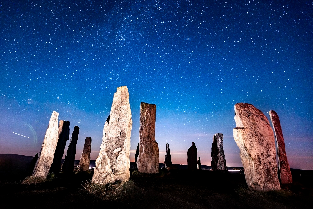 Callanish Standing Stones under the stars on the Isle of Lewis
