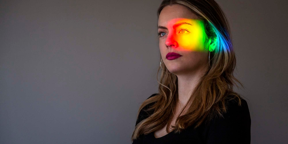 Rainbow across a girls face
