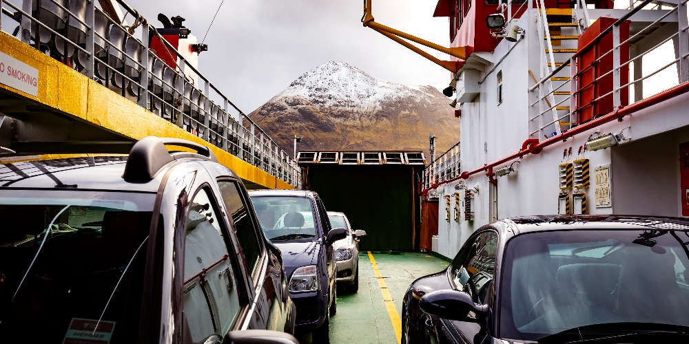 cars parked on deck of MV Hallaig